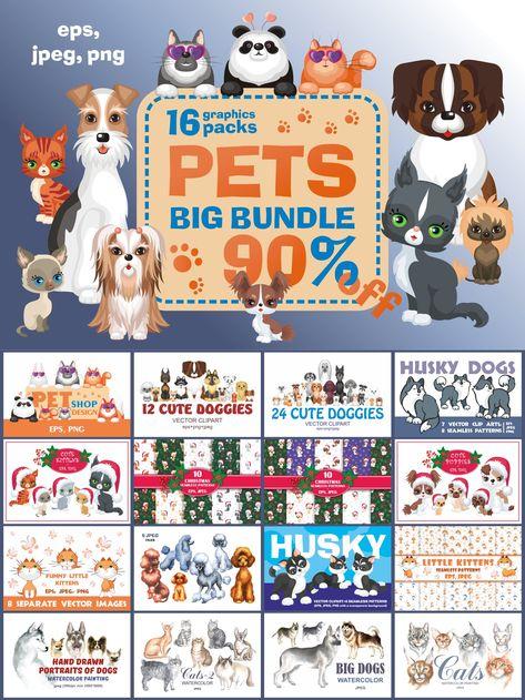 Pets Bundle. Cliparts and seamless patterns (274314)   Illustrations   Design Bundles