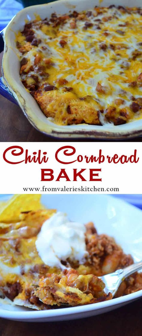 Lean, flavorful chili baked over a layer of cornbread and topped with lots of melted cheese. This Chili Cornbread Bake is the perfect casserole to serve at your next game day gathering or makes for a delicious meal any night of the week. #chili #cornbread #gamedayrecipes #casserolerecipes #easydinners