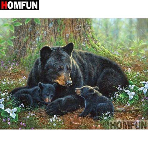 5D Diamond Painting Bear Family in the Woods Kit Offered by Bonanza Marketplace. www.BonanzaMarketplace.com #diamondpainting #5ddiamondpainting #paintwithdiamonds #disneydiamondpainting #dazzlingdiamondpainting #paintingwithdiamonds #Londonislovinit #bears #bearfamily