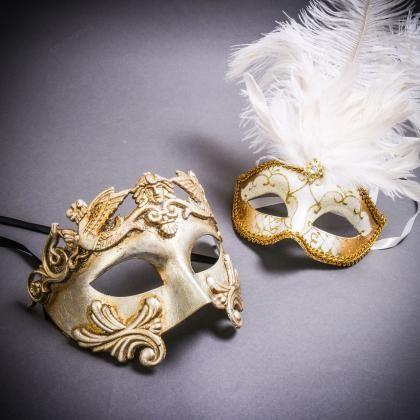 Black Side Feather Venice Masquerade Venetian Gold Mardi Gras Couple Party Mask