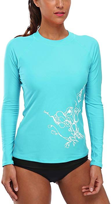 ed12f1ac8e Vegatos Women's Long Sleeve Rash Guard Shirt Athletic Swim Top Sun Guard  Aqua S at Amazon Women's Clothing store: