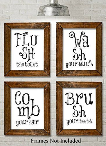 Bathroom Quotes And Sayings Art Prints Set Of Four Photos 8x10