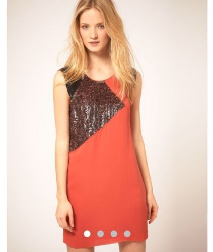 c3117c4fe8 French-Connection-Coral-Orange-And-Gunmetal-Sequin-cocktail-Dress-US-Size-4- 6