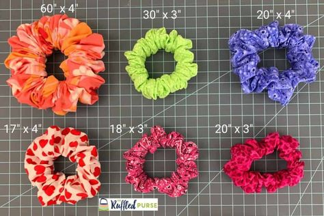 How to Make the Perfect Scrunchie - The Ruffled Purse® Sewing Machine Projects, Sewing Projects For Kids, Quilting Projects, Diy Hair Scrunchies, How To Make Scrunchies, Sewing Toys, Sewing Clothes, Sewing Crafts, Diy Hair Accessories