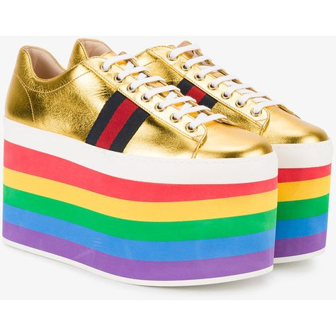 5dc380ddc49 Gucci Gold Leather Rainbow 110 Flatform Sneakers (€700) ❤ liked on Polyvore  featuring