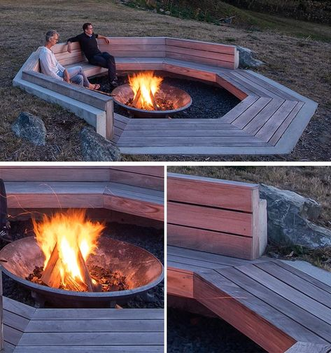 This sunken fire pit has been nestled into the hillside, and is lined with wood, has a backrest that creates an idea place to sit back and relax, and a concrete fire bowl adding warmth on a cool night. Sunken Fire Pits, Deck Fire Pit, Concrete Fire Pits, Fire Pit Seating, Fire Pit Area, Fire Pit Backyard, Fire Pit With Grill, Fire Pit Gazebo, Back Yard Fire Pit