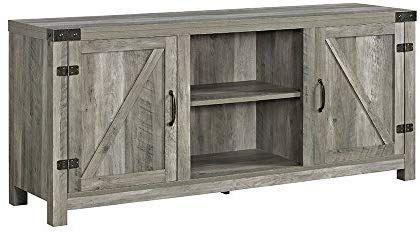 Amazon Com Modhaus Living Modern Rustic 2 Door Media Cabinet Tv Stand With Adjustable Shelves I Barn Door Tv Stand Saracina Home Living Room Storage Cabinet