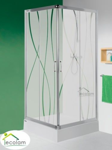 Duschkabine Viereck Dusche Schiebetur Glas Gemustert 90 X 90 X 190