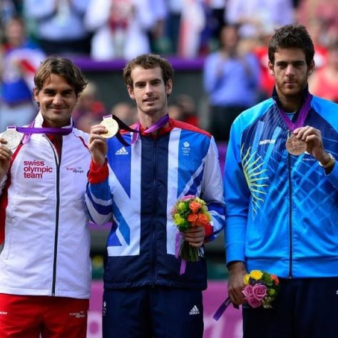 2012 Olympic Men's Tennis medal ceremony. L-R: Roger Federer earns Silver, Andy Murray wins Gold, Juan Martin del Potro gets Bronze.