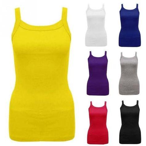 Women Ladies Sleeveless Stretch Strappy Plain Normal Vest Tank T-shirts