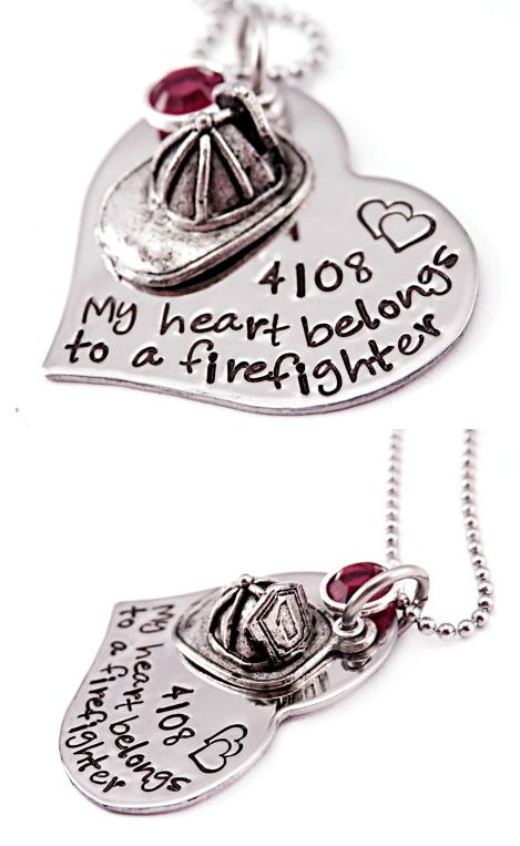 Floating Locket Personalized Hand Stamped Necklace My Heart belongs to a fireman