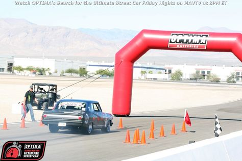 Robbie Unser Sliding His 65 Chevy Ii Nova Into The Stop Box At The 2014 Ousci In Las Vegas Chevy Optima Battery Chevy Nova