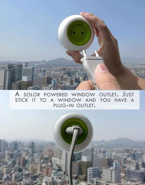 Simple Ideas That Are Borderline Genius (Geek Edition) – 27 Pics. This is a solar powered window outlet. Solar Energy, Solar Power, Renewable Energy, Take My Money, Cool Inventions, Future Inventions, Cool Tech, Diy Tech, Gadgets And Gizmos