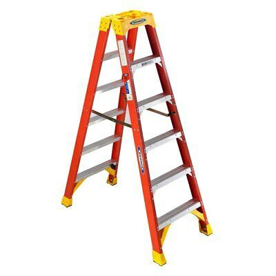 Werner 6 Type Ia Fiberglass Twin Ladder W Holstertop Ebay Step Ladders Ladder Wood Step Stool