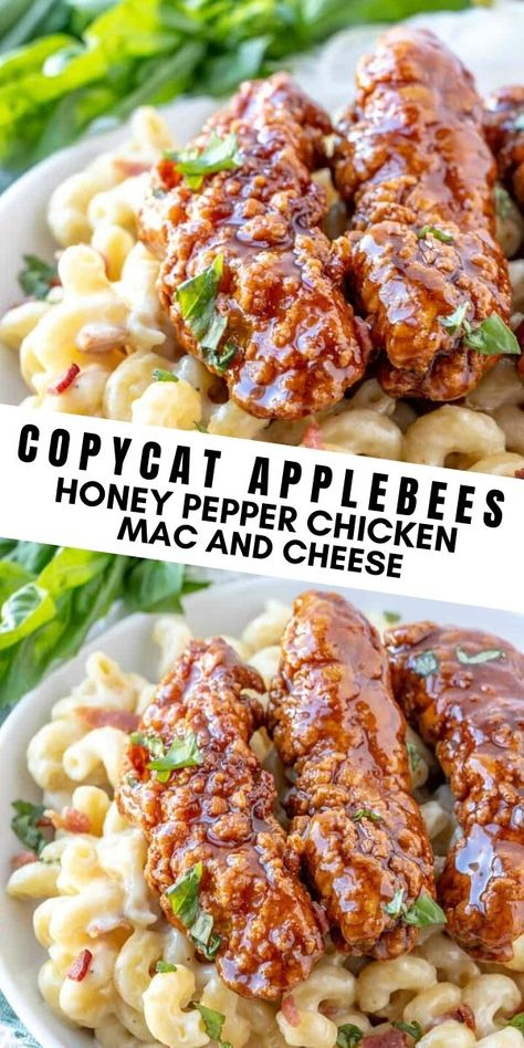 Fan of your favorite restaurant recipes but want to make them at home? This Copycat Applebee's Honey Pepper Mac and Cheese is the perfect copycat recipe. Filled with mac and cheese, chicken and bacon it is completely addicting! New Recipes, Cooking Recipes, Favorite Recipes, Healthy Recipes, Delicious Dinner Recipes, Recipes With Bacon, Best Dinner Recipes Ever, Bacon Recipes For Dinner, Dessert Recipes