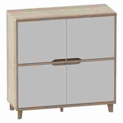 Rangement 4 Portes Nordic Imitation Chene Et Blanc Buffets But Rangement Maison Chene