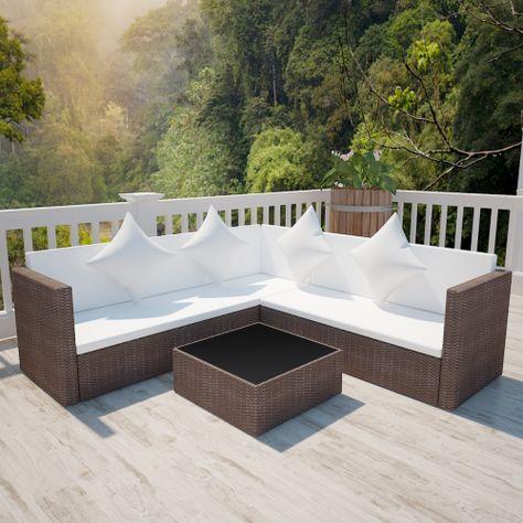 vidaXL Lounge Set 17 Pieces Poly Rattan Brown | Products | Salon de ...