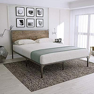 Amazon Com Amooly Metal Bed Frame Platform Bed With Wood