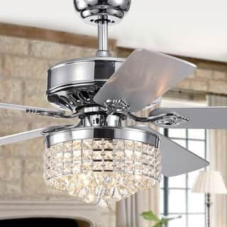 4cdc41dc235ee Antique White and Champagne Crystal Ceiling Fan - 52