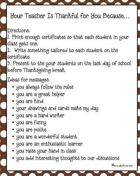 Thanksgiving notes for your students