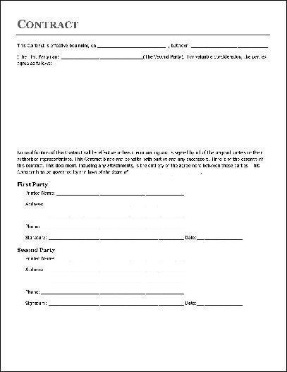 Simple Contractor Agreement Template Contract Agreement