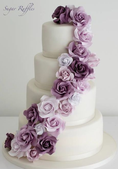 Wedding Cake Inspiration - Sugar Ruffles - MODwedding - Let's Cake Creative Wedding Cakes, Elegant Wedding Cakes, Beautiful Wedding Cakes, Elegant Cakes, Lace Wedding, Floral Wedding, Wedding Vows, Wedding Venues, Wedding Cake Decorations