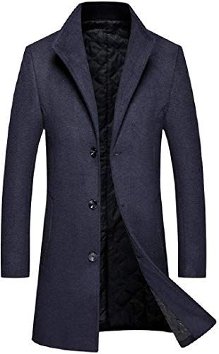 Generic Mens Woolen Single Breasted Trench Jacket Winter Pea Coat Wool Coat