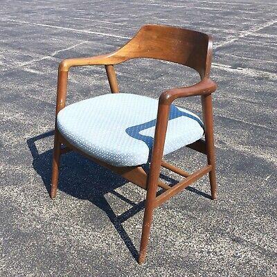 Gunlocke Mid Century Modern Blue Upholstered Walnut Arm Chair Danish Vintage Ebay Mid Century Modern Chair Antique Furniture For Sale Antique Armchairs