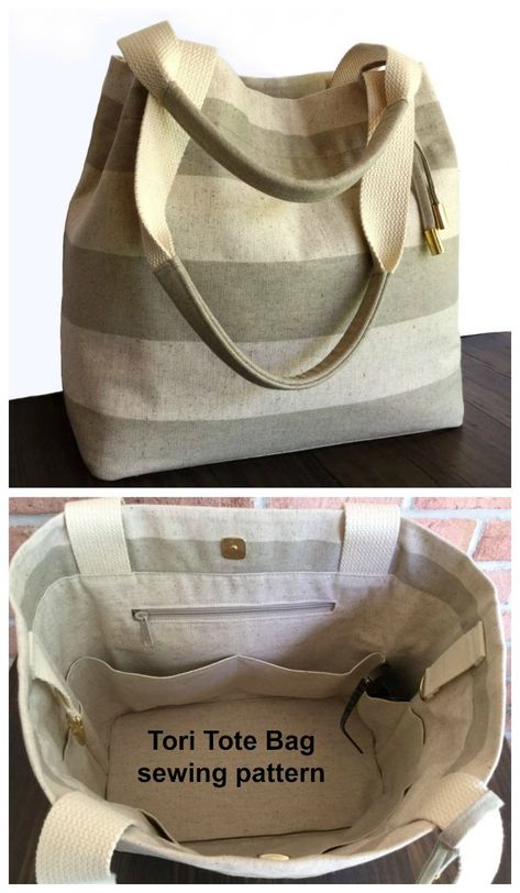 Big Tote Bags, Fabric Tote Bags, Purses And Bags, Sew Bags, Bag Patterns To Sew, Pattern Sewing, Easy Tote Bag Pattern Free, Simple Bags, Large Tote