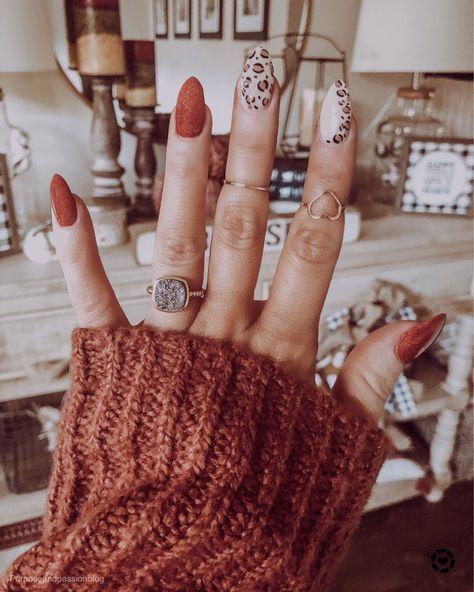 Nail arts trend for winter 2020 - Cheetah nails - Fall Gel Nails, Fall Acrylic Nails, Winter Nails, Autumn Nails, Tip Nails, Fall Nail Art Autumn, Summer Nails, Fall Almond Nails, Fall Nail Polish