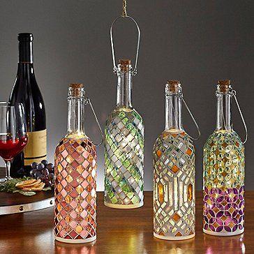 Wine Bottle Mosaic Lanterns Set In 2020 Lantern Set Led Fairy