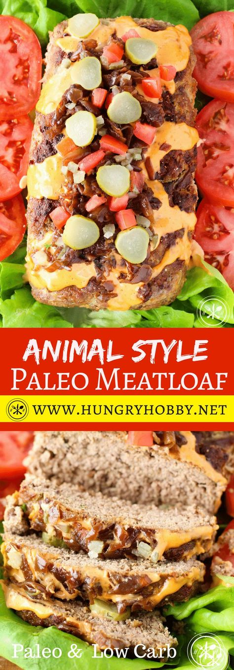 Meatloaf disguised as an animal style burger.  Filled and slathered with rich caramelized onions, crunchy sweet pickles, and tangy special sauce.  This meatloaf doesn't know it's a meatloaf! #glutenfree #paleo #lowcarb #dairyfree #hungryhobby via @hungryhobby