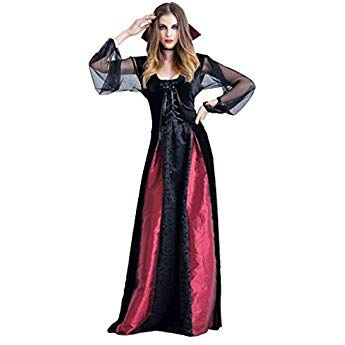Frauit Damen Halloween Gothic Langes Kleid Vampir Hexe Kleider Cosplay Hexenkostum Kostum Schwarz Partykleid Kostume Frauen Halloween Zubehor Halloween Kostum