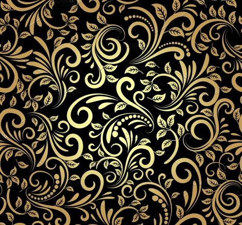 golden floral seamless pattern by Microvector on @creativemarket