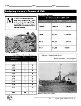 Causes Of World War 1 Worksheet Answers - worksheet