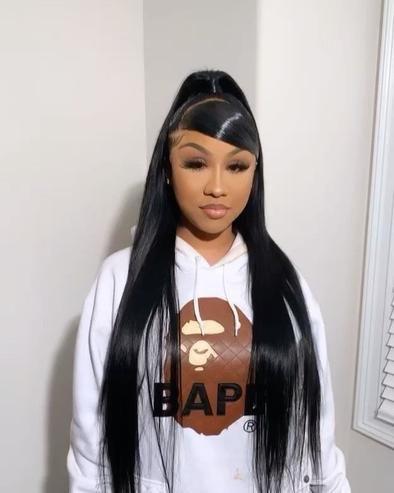 Hair Ponytail Styles, High Ponytail Hairstyles, Frontal Hairstyles, Sleek Ponytail, Baddie Hairstyles, Black Women Hairstyles, Straight Hairstyles, Curly Hair Styles, School Hairstyles