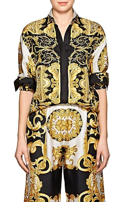 6db0c223cf Versace Baroque-Print Twill Blouse in 2019 | Outfit ideas | Versace ...