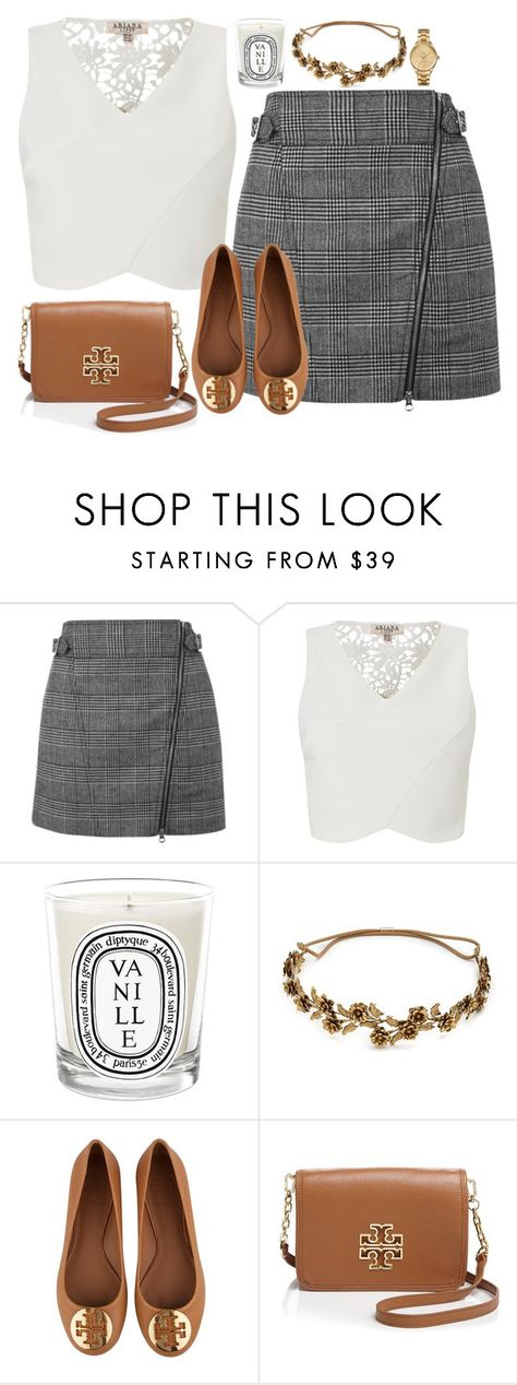 """""""Unbenannt #2941"""" by cora97 ❤ liked on Polyvore featuring Topshop, Lipsy, Diptyque, Jennifer Behr, Tory Burch and Lacoste"""