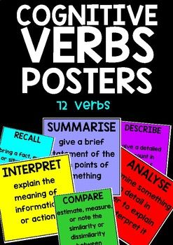 Cognitive Verbs Posters | TEACHING | Simple definition, Classroom