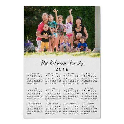 Custom Calendar 2019 Your Photo and Name Personalized 2019 Calendar Poster | Zazzle.