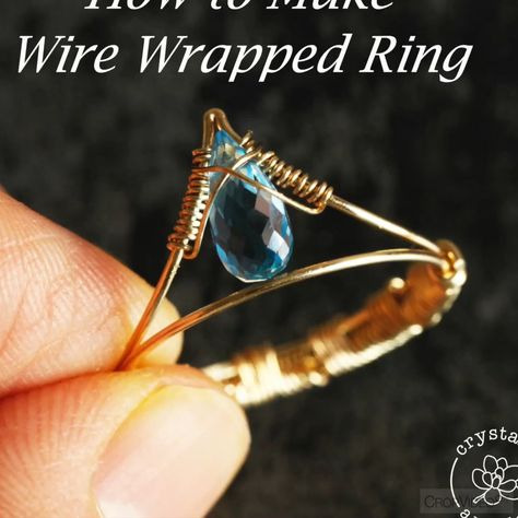 This video shows you how to make wire wrapped rings for teardrop top drill bead.Read the full tutorial on my blog. #wirewrapping #jewelrydiy  #wirewrappedring