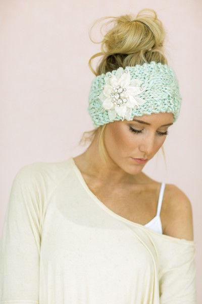 Mint Cable Knitted Headband, Jeweled Ear Warmer, Embellished Flower, Fashion Accessory MINT Turband Style week lead from three bird nest.