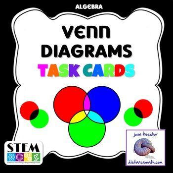 Set Theory With Venn Diagrams Task Cards Activity And Or And