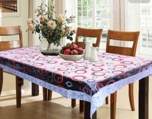 Dining Table Cover Round Design Printed Clear Transparent Sheet 60