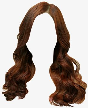 Brown Hair Clip Wig Female Hair Front Wigs Material Png
