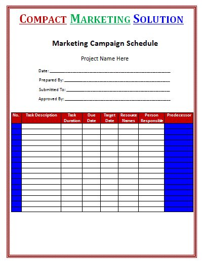 Marketing Campaign Schedule Template Is A Wonderful And Brilliant