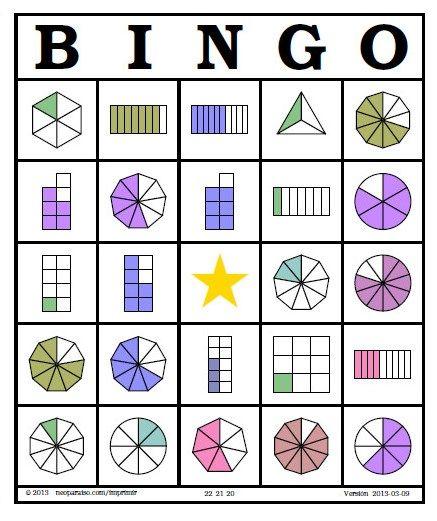 Presento este bingo de fracciones de primaria que se puede utilizar para 3° a 6° de primaria, son fichas para