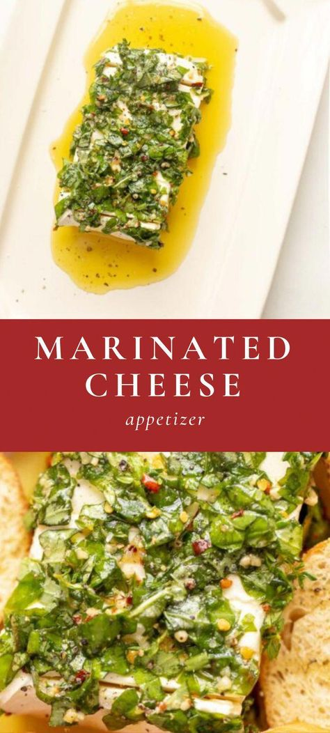 Here's an easy Cream Cheese Appetizer recipe that is the ultimate make-ahead option. This marinated cheese recipe is perfectly seasoned into an herb cream cheese with herbs, oil and spices.  #appetizer #creamcheese #cheese #marinated #marinatedcheese #christmas #holiday #recipe #easyrecipe #makeaheadappetizers