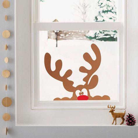 peeping reindeer window sticker by nutmeg   notonthehighstreet.com
