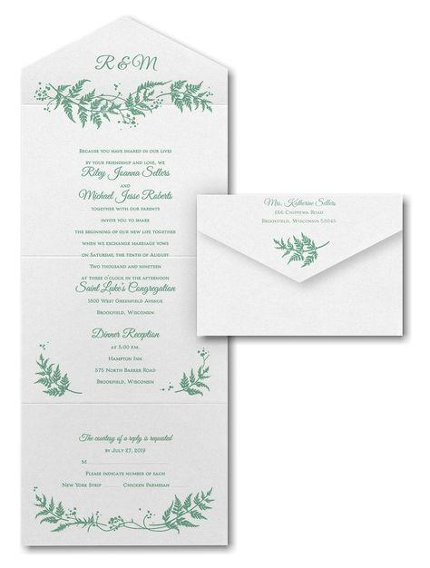 Delicate Ferns Seal N Send Wedding Invitation